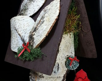 White Birch Log Birdhouse with Bark Leaf