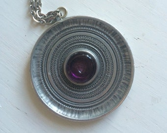Vintage scandinavian tin necklace 1970s or 1960s.