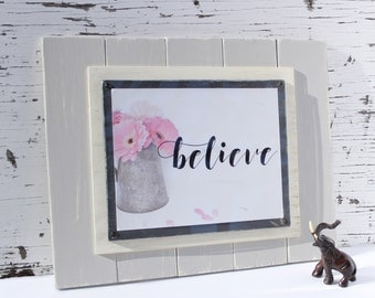Wood Plank Wall Art - Cottage Picture Frame - Farmhouse Wall Decor - Inspirational Print - Personalized Picture Frame - Wood Plank Frame