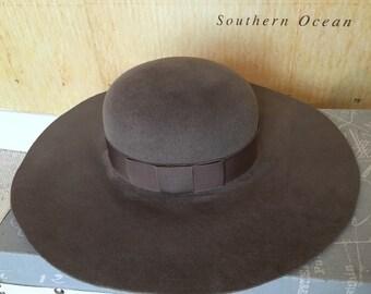 Luxury Fur velvet felt floppy hat in mink fedora great for winter ( fashion bloggers choice)
