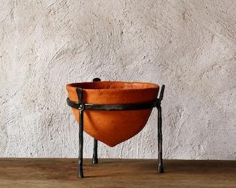 Ceramic Planter Terracotta Bowl cast iron stand