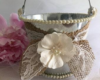 Shabby Chic Handmade Flower Girl Pail