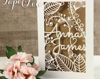 High Quality Rustic Shabby Chic Laser Cut Flowers Personalised Wedding Invitations