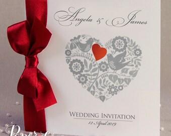 Personalised Wedding Invitations Love Heart Ribbon