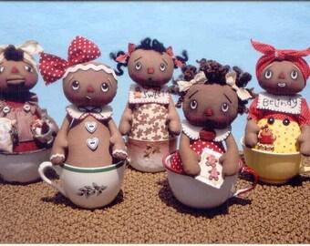 "Primitive cloth doll PATTERN "" Darling Gingerbread Tea Cup Dolls"""