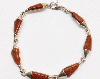 Bracelet 925 Silver silver bracelet with Goldstone SA177