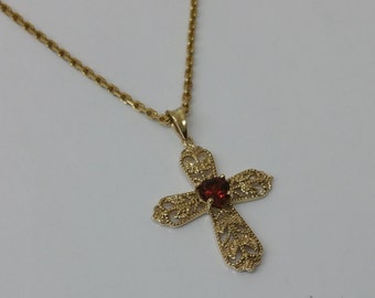 333 cross pendant with Garnet stone GA115