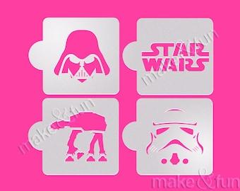 4 pcs Star Wars Stencil, Airbrush, Darth Vader, Face Pinting Stencil, Schablone Kuchen (Product Code LK026)