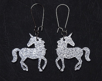 Unicorn Dangle Earrings in Sparkle Silver or Gold, Unicorn Earrings, Unicorn Dangles, Unicorn Jewelry, Fantasy Earrings, Titanium Earrings