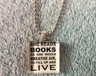 Bookworm Quote Tile Necklace