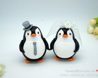 Custom Love Bird Penguin Wedding Cake Toppers -Bride And Groom Penguin Cake Topper