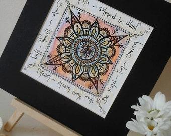 Mandala wall art~mandala painting~yoga room~spiritual art~uplifting art~positive affirmations~bohemian art~happy art~art~positive wording~