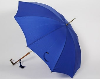 Polan Katz Cobalt Blue Umbrella, Wood Handle