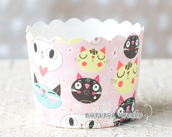 50X pink cut cat Baking Cups,Cupcake Liners,Cake Cups Candy Cups Paper Dessert Cups Rainbow Party,Birthday Favor DIY Toppers,Wedding Favor