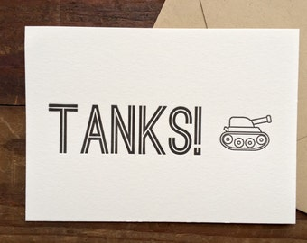 "Letterpress ""TANKS"" (thanks) greeting card"