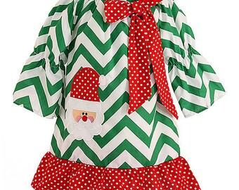 Green Chevron Santa Applique Christmas Dress