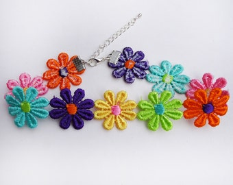 Multicoloured Flower Choker Necklace