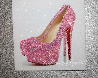 Unique Glitter Louboutins Shoe Canvas Print, Wall Art. Any Size & Colour!!