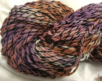 Vegan yarn, hand dyed cotton yarn, recycled cotton yarn, reclaimed cotton yarn, unraveled yarn, cruelty free yarn, marled yarn, tweed yarn