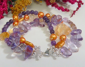 Freshwater Pearls, Citrine, Ametrine, and Amethyst Stones with Sterling Silver Findings