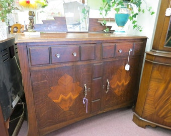 Antique Imported English Art Deco Buffet With Inlay And Mirror