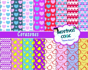 Digital Paper CORAZONES to create Party Printables Invitation Birthday party