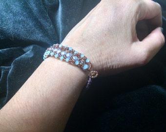 Woven beaded iridescent bracelet