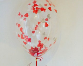 "12"" Red Love Heart Confetti Balloons PK 3, Valentines, Wedding, Birthday, Party"