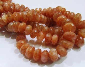 Strand of 20 Beads -Genuine Sunstone Rondelle faceted Beads/ Choose the Sizes/ 6mm to 12mm/ Real Semi Precious Beads