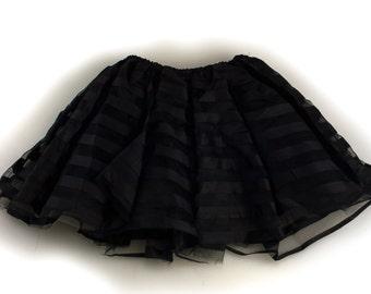 Junior Young Adult Teen Triple Layer Tutu Skirt Zebra, Leopard, Black Stripe - Style 4396