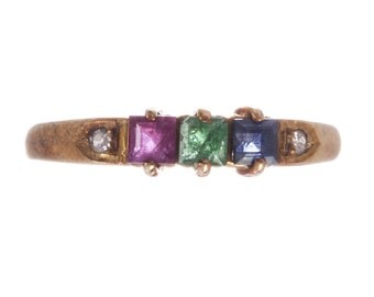 14 kt Gold Blue Sapphire Ruby Emerald and Diamond Ring