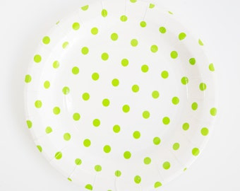 Green Swiss Dots of 12 Paper Plates