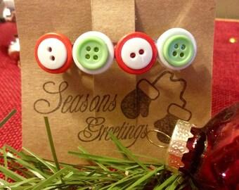 Christmas Button Barrette