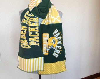 Green Bay Packers Scarf, Packers Scarf, Packers Football Scarf, GB2, tailgating Scarf, spirit scarf, Tshirt scarf, upcycled Tshirt scarf