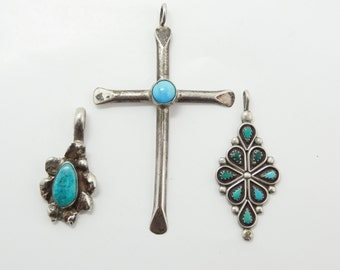 American Indian Jewelry Group of 3 American Indian Sterling Silver Turquoise Pendants Cross Native Jewelry