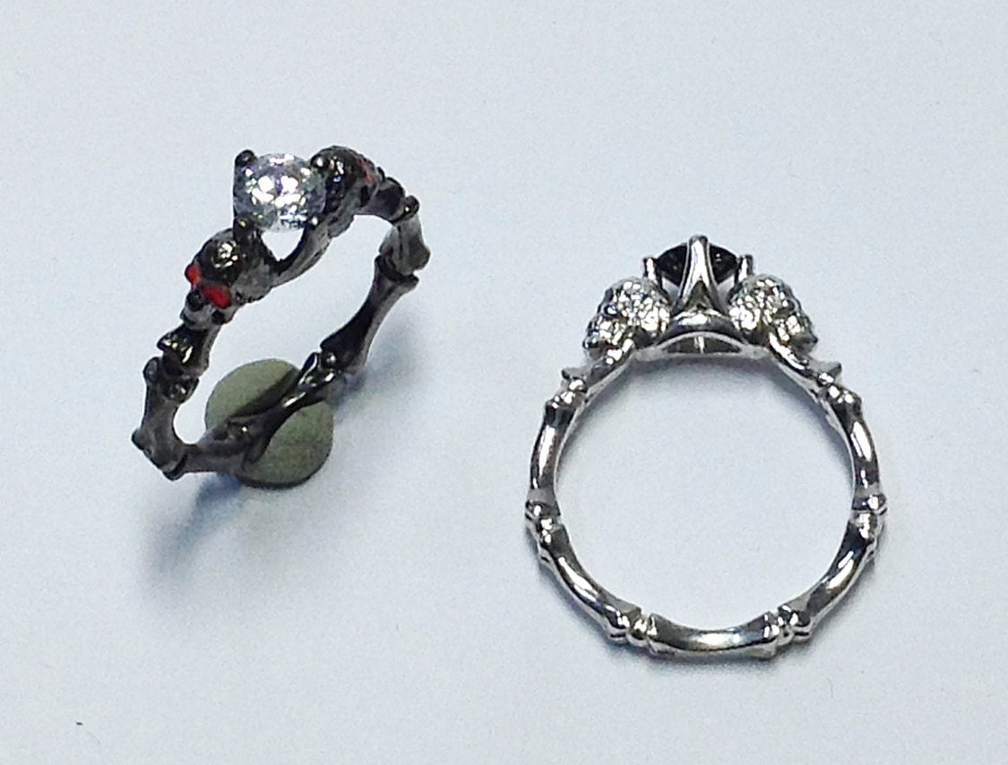 skull engagement ring ring dainty skull by pmdatelier