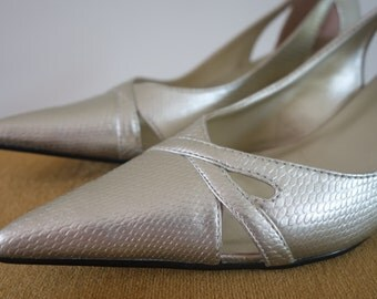 Glamerous ladies shoes in silver-gold snake print