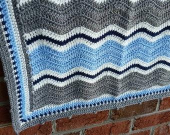 READY TO SHIP Crochet Baby Blanket, Ripple Afghan, Blue, Navy, White, and Grey, Chevron, Baby Boy Blanket