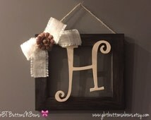 Rustic Stained Initial Frame, Rustic Home Decor, Rustic Initial Frames, Initial Frames, Wood Letters, Home and Living, Personalized Gifts