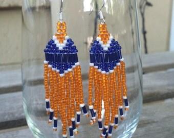 Broncos bead woven earrings