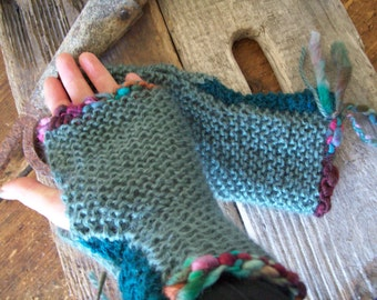 Hand Knit Fingerless Gloves/Mitts