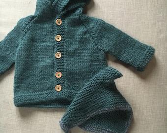 Baby Cardigan baby CAP in the set of fair baby alpaca wool