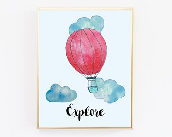 Gender Neutral, Balloon Print, Boy nursery decor, Explore, Baby Boy Nursery Decor, Kids Wall Art, Kids Print, Children Gift, Watercolor Art