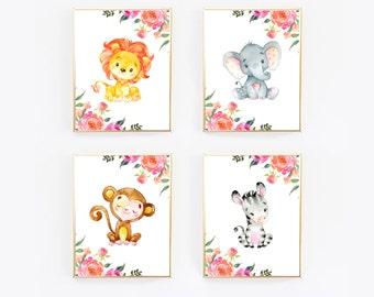 Set Of 4 Prints, Set Of Prints, Nursery Wall Art, Print Set, Animal Print, Watercolor Print, Baby Girl, Wall Print Set, Wall Prints, Gift