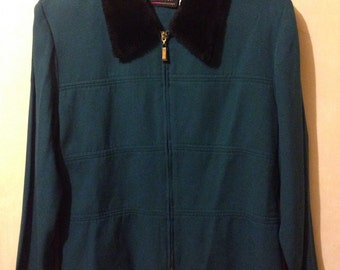 Teal zip up jacket with faux fur collar large