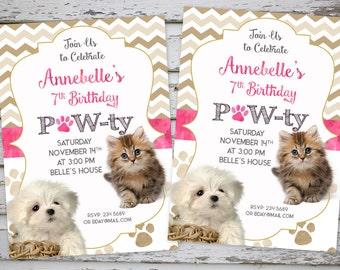 Puppy Birthday Invitation, Kitten Invitation, Pet Party, Puppy Party, Cat Party, Dog Party Pawty Printable, Pawty Thank You Card