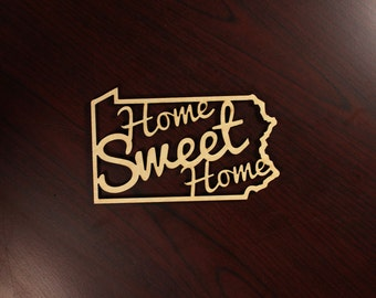 """Pennsylvania State """"Home Sweet Home"""" Wooden Ornament - Laser Cut Christmas Gift - United States Ornaments"""