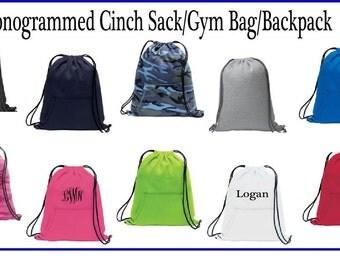 Monogrammed Cinch Sack, Monogrammed Backpack, Monogrammed Drawstring Bag, Monogrammed Gym Bag, Sweatshirt Cinch Sack, Gym Bag - GB01