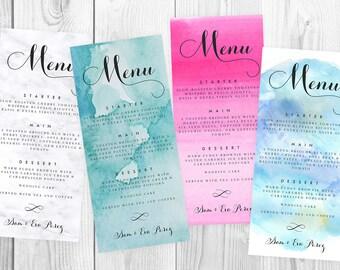 Personalized Menu, Printable Digital Elegant Calligraphy Menu Card, Print at Home Menu