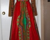 African Print Dashiki dress, red dashiki maxi dress with plunging neckline, African Wax fabric, angelina maxi dress